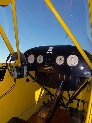 Airplane Photograph - Piper Cub Dash Panel by Chris Mercer
