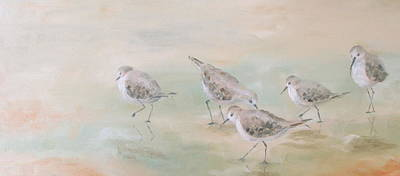 Sandpiper Painting - Pipers Five by Susan Richardson