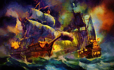 Pirate Ship Painting - Pirate Battle by Christopher Lane