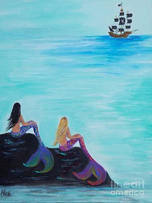 Of Pirate Ship Painting - Pirate Fans by Leslie Allen