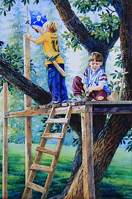 Treehouse Painting - Pirate Fort by Hanne Lore Koehler