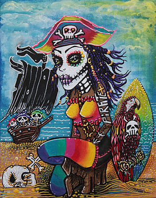 Skulls Painting - Pirate Girl - Surfs Up by Laura Barbosa