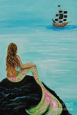 Of Pirate Ship Painting - Pirate Island by Leslie Allen