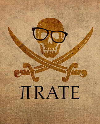 Pi Mixed Media - Pirate Math Nerd Humor Poster Art by Design Turnpike