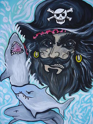 Baseball Card Painting - Pirate Shark Tank by Leslie Manley