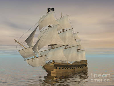 Pirate Ship With Black Jolly Roger Flag Print by Elena Duvernay