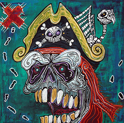 Zombie Painting - Pirate Treasure Map by Laura Barbosa