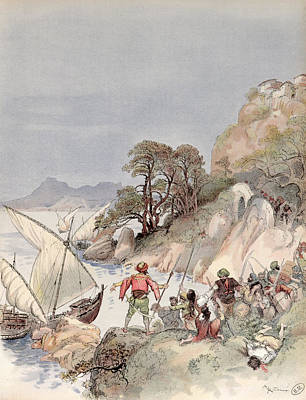 Pirates From The Barbary Coast Capturin Gslaves On The Mediterranean Coast Print by Albert Robida