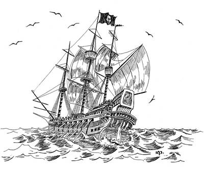 Tampa Bay Drawing - Pirates by Robert A Powell