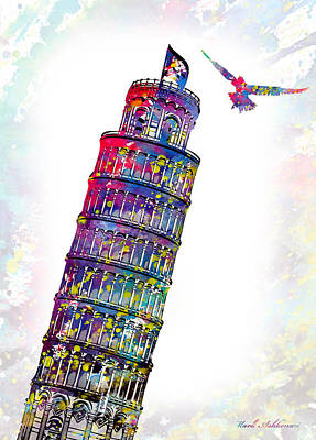 Towers Digital Art - Pisa Tower  by Mark Ashkenazi