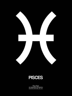Signed Digital Art - Pisces Zodiac Sign White And Black by Naxart Studio