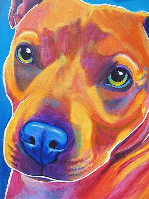 Terrier Painting - Pit Bull - Boo by Alicia VanNoy Call