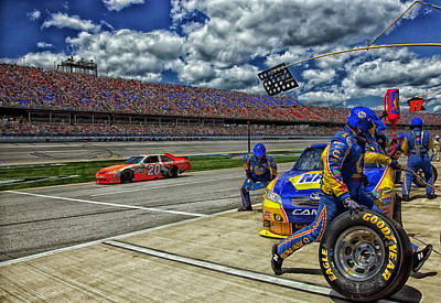Pit Crew In Action At Talladega  Print by Mountain Dreams