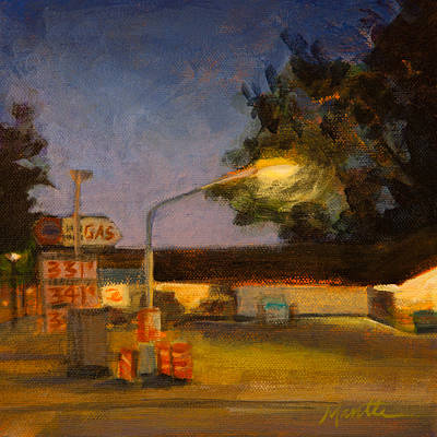 Gas Station Painting - Pit Stop by Athena  Mantle