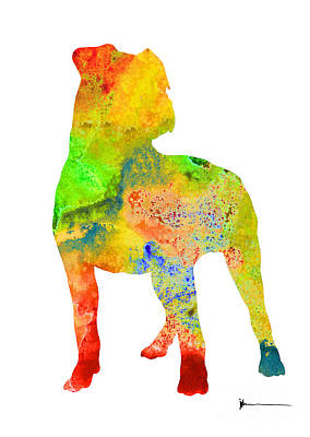 Pitbull Painting - Pitbull Colorful Silhouette Painting Watercolor Art Print by Joanna Szmerdt