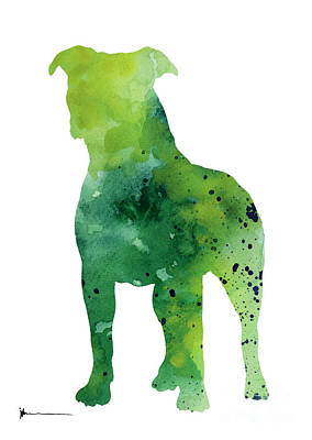 Pitbull Painting - Pitbull Silhouette Large Poster For Sale by Joanna Szmerdt