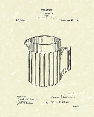 Pitcher Drawing - Pitcher 1913 Patent Art by Prior Art Design