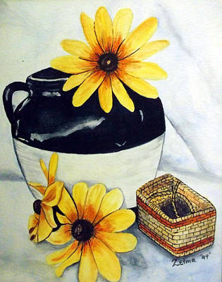 Pitcher With Yellow Flowers Print by Zelma Hensel