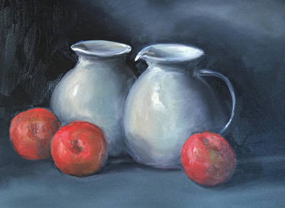 Water Pitcher Painting - Pitchers And Apples by Rich Alexander