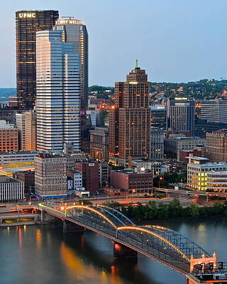 Pittsburgh At Dusk Print by Frozen in Time Fine Art Photography