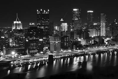 Pittsburgh Black And White Night Print by Frozen in Time Fine Art Photography