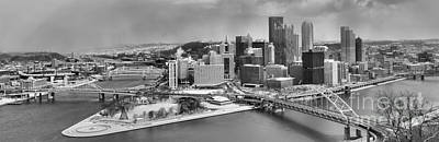 Downtown Pittsburgh Photograph - Pittsburgh Black And White Winter Panorama by Adam Jewell