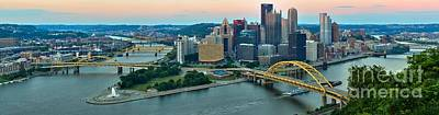 Pittsburgh Panorama At Dusk Print by Adam Jewell