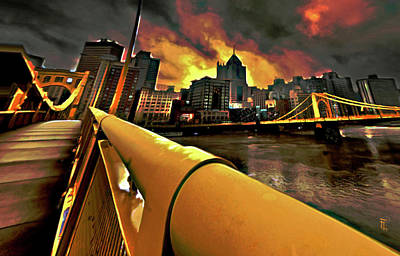 River Painting - Pittsburgh Skyline by  Fli Art