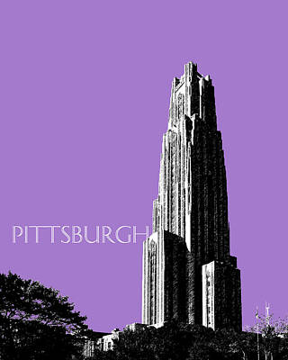 Pen Digital Art - Pittsburgh Skyline Cathedral Of Learning - Violet by DB Artist