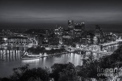 Pittsburgh Skyline Morning Twilight II Print by Clarence Holmes