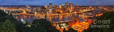 Downtown Pittsburgh Photograph - Pittsburgh Skyline Panorama by Adam Jewell