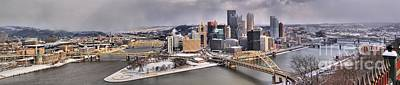 Downtown Pittsburgh Photograph - Pittsburgh Snowy Panorama by Adam Jewell