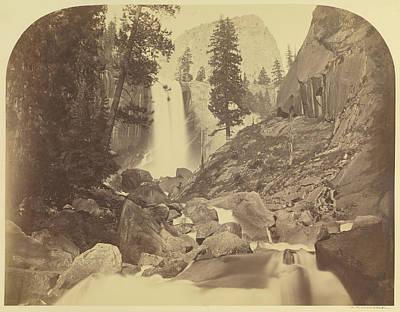 Yosemite National Park Drawing - Piwayac - Vernal Fall - 300 Ft. Yo Semite Carleton Watkins by Litz Collection