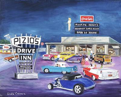 Buick Painting - Pizio's - Happy Days by Linda Cabrera