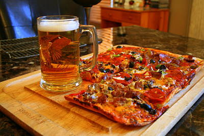 Pizza And Beer Print by Kay Novy