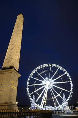 Place De La Concorde And The Ferris Wheel At Christmas Time Print by Sami Sarkis