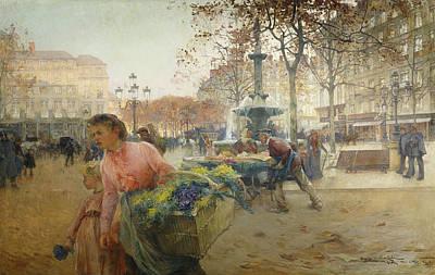 Jacques Painting - Place Du Theatre Francais Paris by Eugene Galien-Laloue