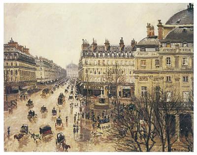 Place Du Theatre Francais Rain Print by Camille Pissarro