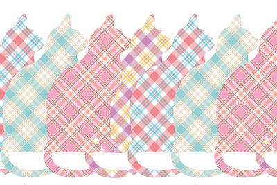Plaid Cats Print by Peggy Collins