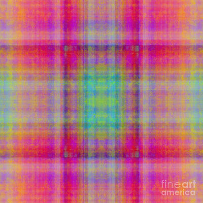 Plaid In Pink 1 Square Print by Andee Design