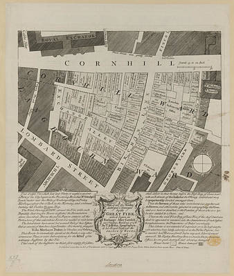Plan Of Houses Destroyed By Fire Print by British Library