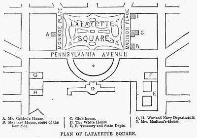 Plan Of Lafayette Square Print by Granger