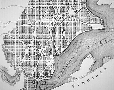 Old Town Drawing - Plan Of The City Of Washington As Originally Laid Out In 1793 by American School