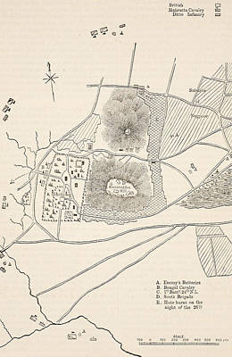 East India Painting - Plan Of The Defence Of Seetabuldee Hill by English School