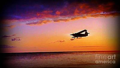 Plane Pass At Sunset Print by John Malone