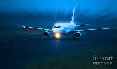 Atmosphere Photograph - Plane Takes Of At Dusk by Michal Bednarek
