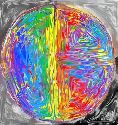 Rainbow Digital Art - Planet Funk 2 by Chris Butler