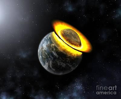Planet Hitting The Earth, Artwork Print by Mikkel Juul Jensen