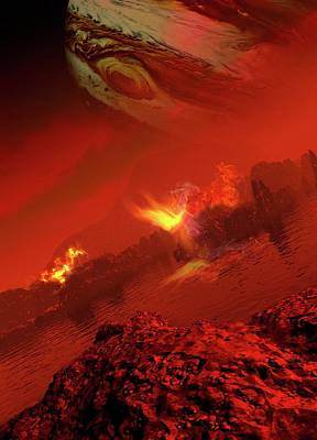 Space Photograph - Planet With Rocks And Flames by Victor Habbick Visions