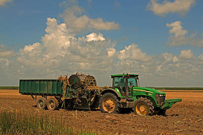 Planting Sugarcane In Louisiana Mechanically Print by Ronald Olivier